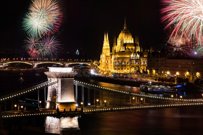 Fireworks in Budapest over Parliament and chain bridge stock images