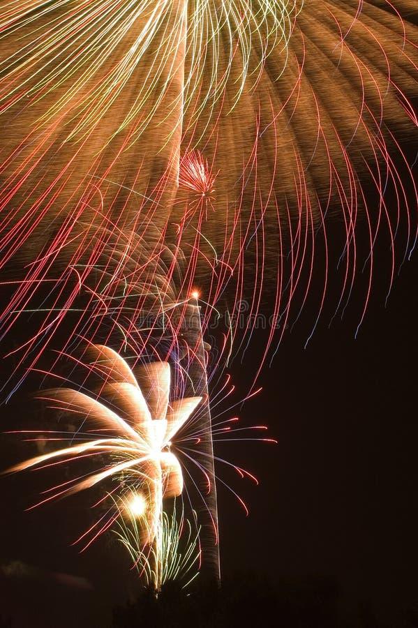 Fireworks Burst. Large burst of fireworks with smaller bursts underneath, Fourth of July celebration royalty free stock photography