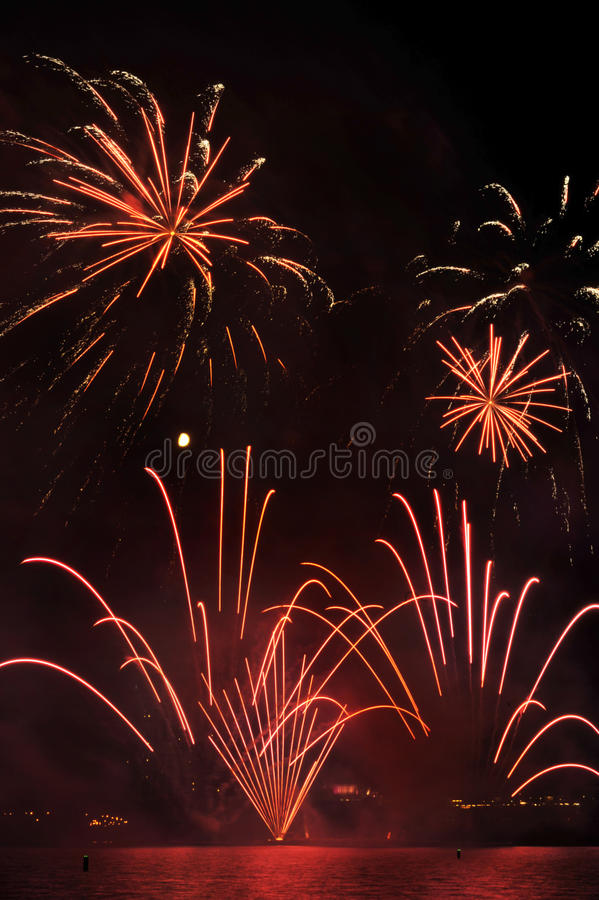Fireworks burst. Multiple Bursts of Fireworks in the night skies royalty free stock photography