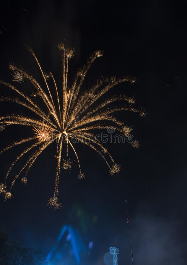 Fireworks burst on a black sky stock image