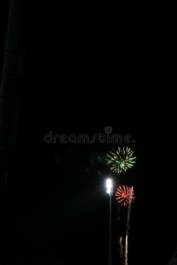Fireworks with open copy space stock photography