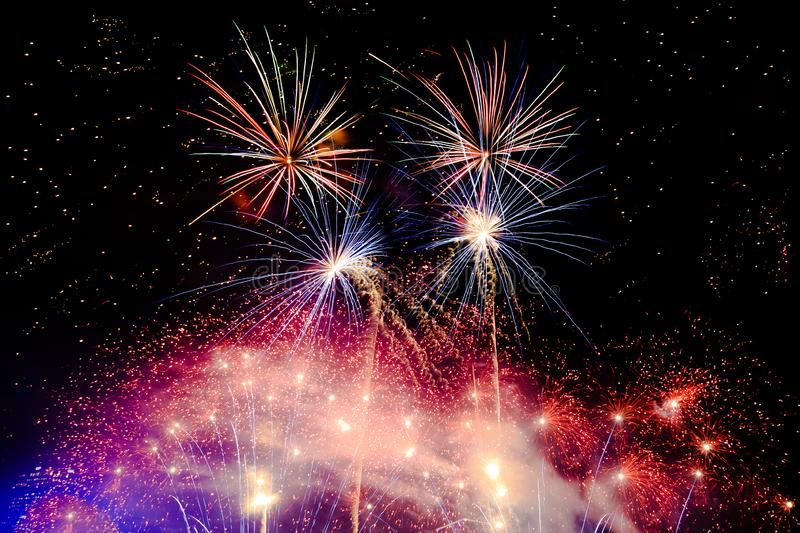 Fireworks Bursting with Explosions royalty free stock photo