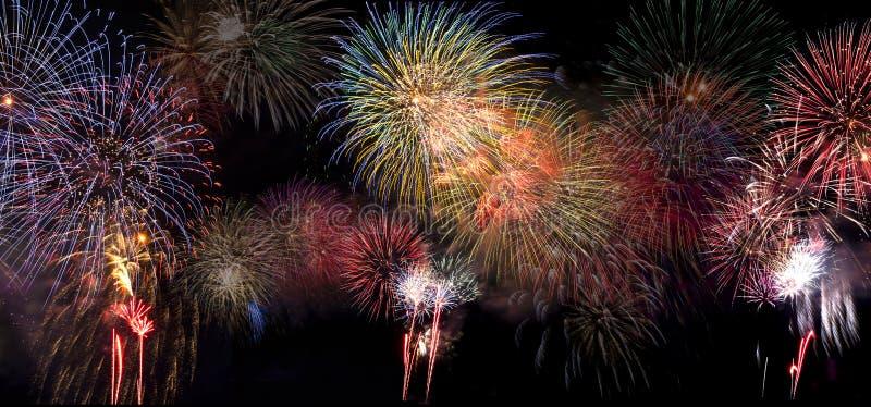 Fireworks Bursting in Night Sky royalty free stock photos