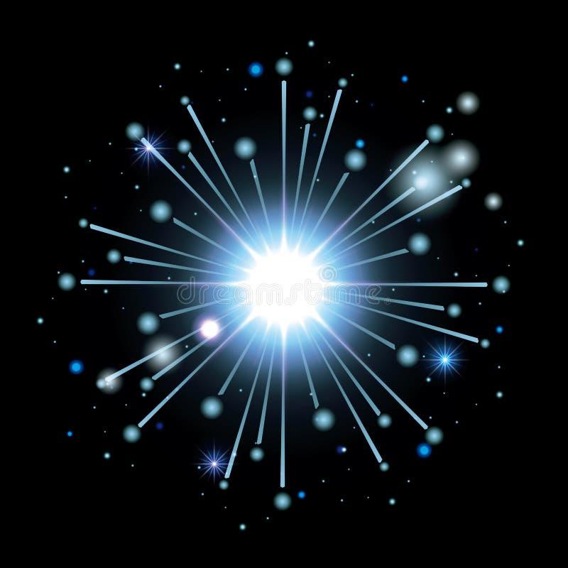 Fireworks bursting in shape of star with light blue flashes on black background royalty free illustration