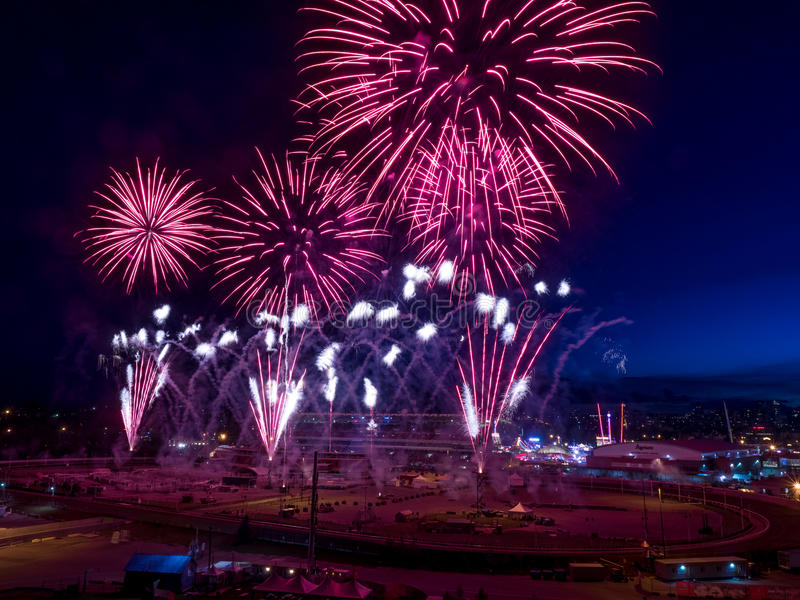 Fireworks at the the Calgary Stampede stock image
