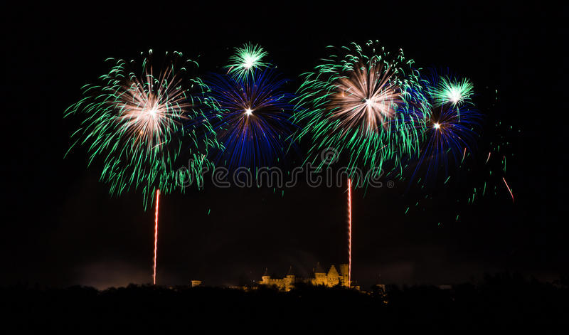 Download Fireworks On Carcassonne Festival Of 14 July 2012 Stock Photos - Image: 26441713