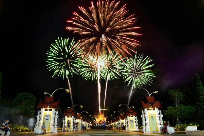 Fireworks celebrate the queen's birthday anniversary in Chiangmai, Thailand royalty free stock photo