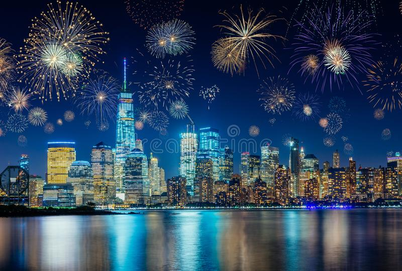 Fireworks celebrating New Years Eve in New York City, NY, USA royalty free stock photo
