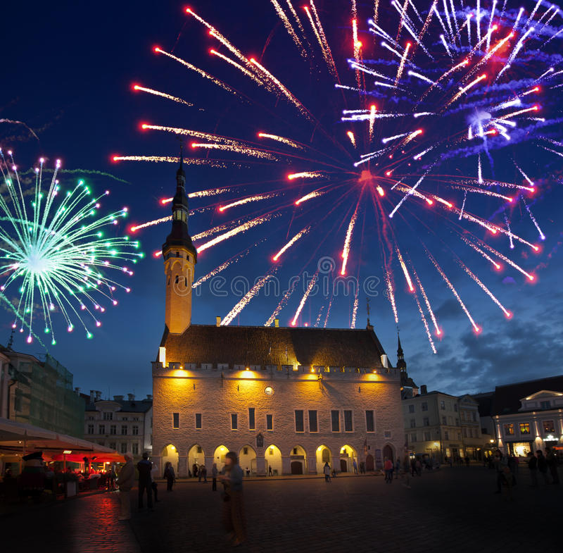 Fireworks celebrating over the Town hall square. Tallinn. Estonia royalty free stock images
