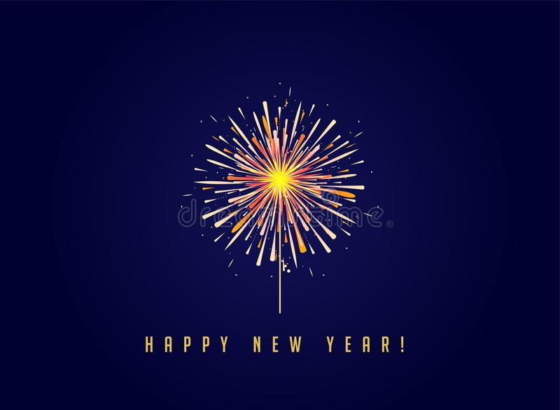 Fireworks and celebration background, Happy New Year. Banner vector illustration