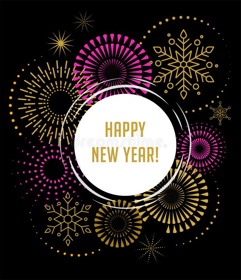Fireworks and celebration background, Happy New Year. Banner and poster stock illustration