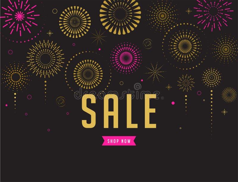 Sale poster, Fireworks and celebration background. Fireworks and celebration background, sale poster and banner royalty free illustration