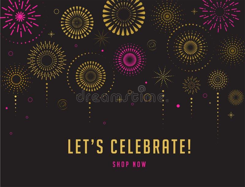 Fireworks and celebration background, winner, victory poster design. Fireworks and celebration background, winner, victory poster, banner royalty free illustration