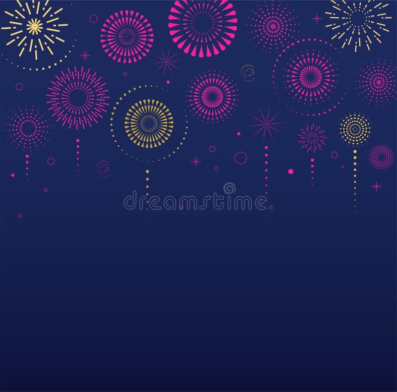 Fireworks and celebration background, winner, victory poster. Banner royalty free illustration