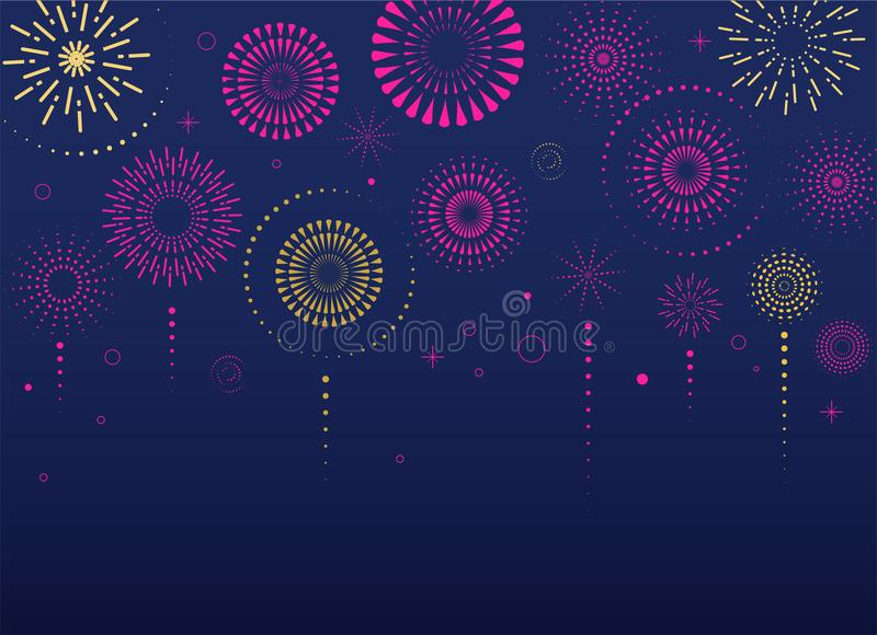 Fireworks and celebration background, winner, victory poster. Banner royalty free illustration