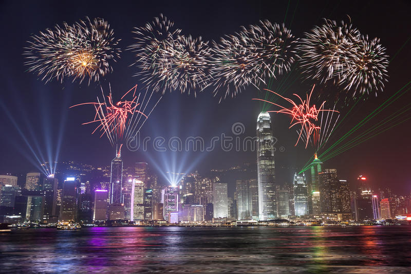 Fireworks Celebration - Hong Kong royalty free stock photography