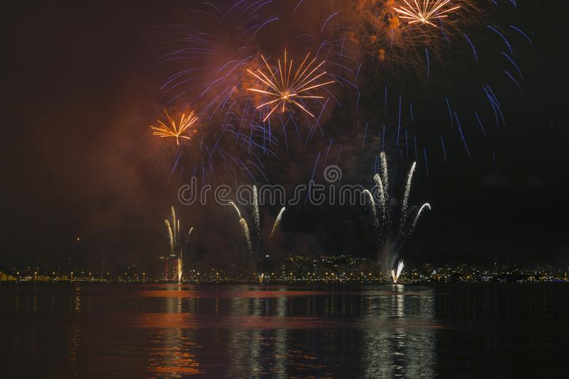 Fireworks in Florianopolis. Fireworks in celebration new years in Florianopolis Santa Catarina royalty free stock photography