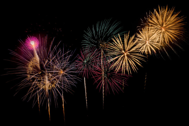 Fireworks Celebration at night on New Year. And copy space - abstract holiday background stock photo