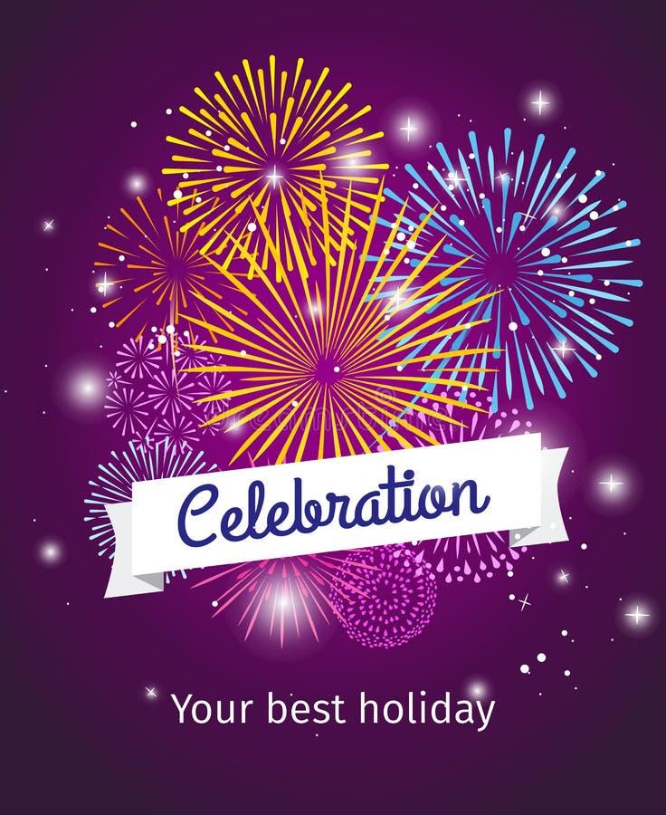 Fireworks celebration poster template. Fireworks background, celebration card or celebration poster template. Vector illustration royalty free illustration