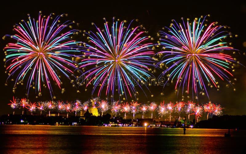 Fireworks. Celebration Redentore (venice, Italy royalty free stock image