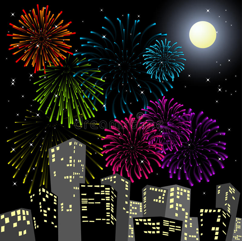 Fireworks in the centre of the city. New Year card royalty free illustration