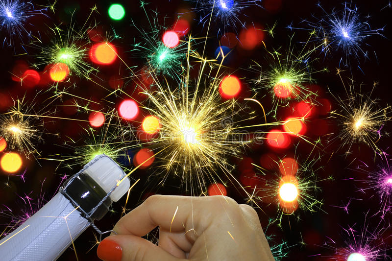 Fireworks and champagne. Happy new year background with fireworks and champagne stock illustration