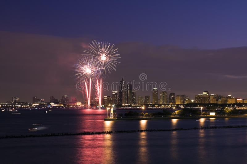 Fireworks in Chicago stock photo
