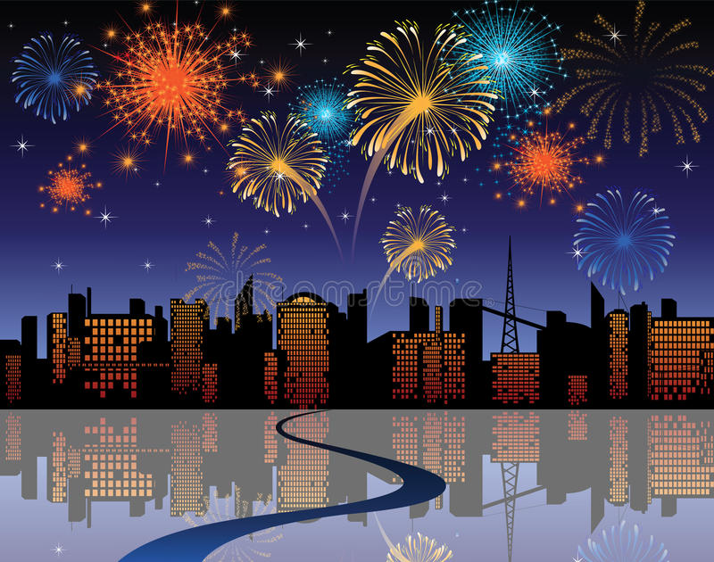 Fireworks in the city stock illustration