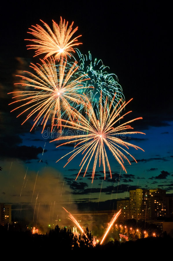 Fireworks in the city royalty free stock photo