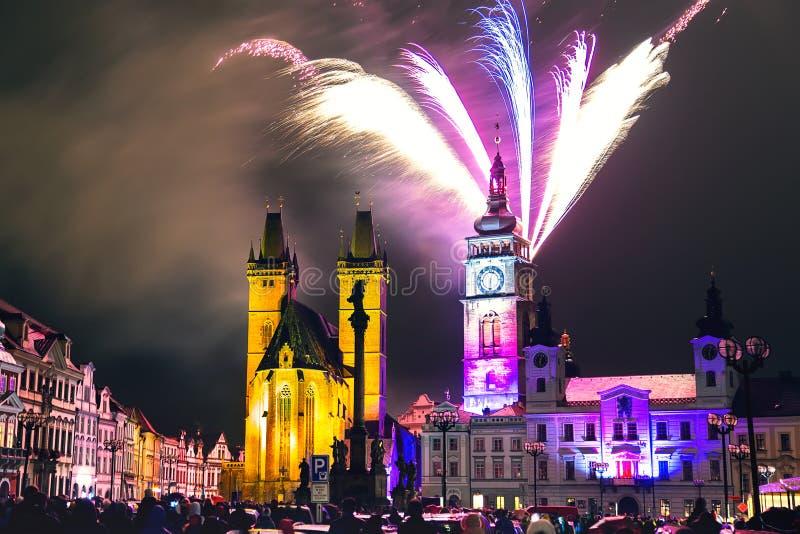 Fireworks in the city center of Hradec Kralove stock images