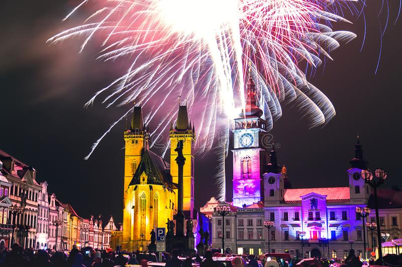 Fireworks in the city center of Hradec Kralove, Czech Republic royalty free stock images