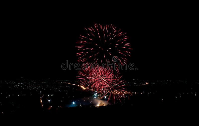 Download Fireworks on the city stock photo. Image of composition - 43025418
