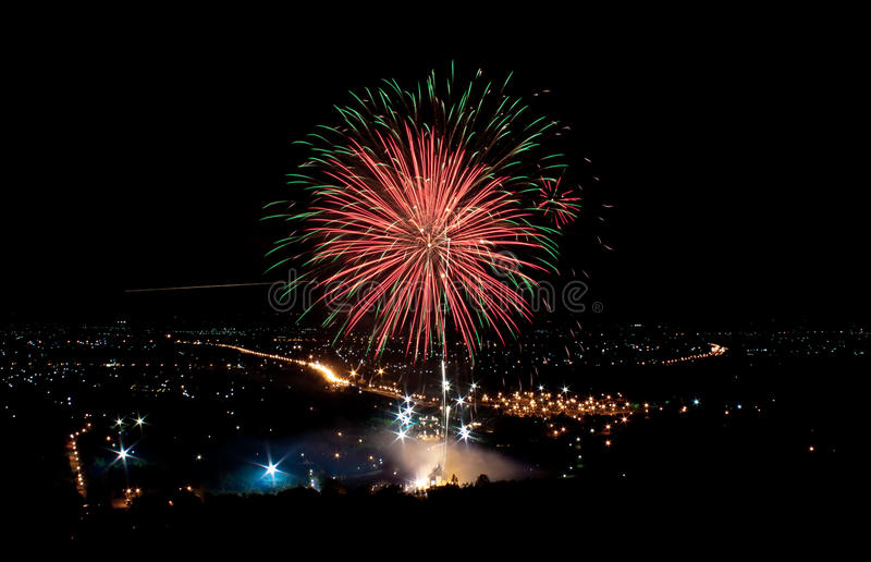 Download Fireworks on the city stock image. Image of shades, thailand - 43025013