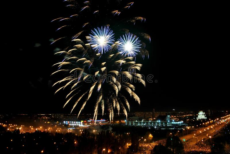 Fireworks in the city of Togliatti in honor of the celebration of the 74th anniversary of the end of the Great Patriotic War. Fireworks in Avtozavodsky royalty free stock photo