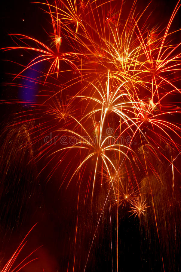 Fireworks. Are a class of explosive pyrotechnic devices used for aesthetic, cultural, and religious purposes. A  event (also called a  show or pyrotechnics) is royalty free stock photo