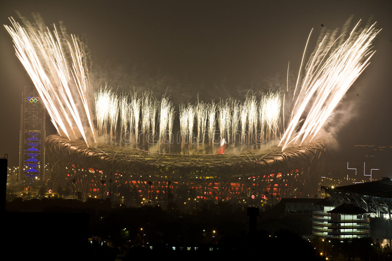 Fireworks of the Closing ceremony royalty free stock photo