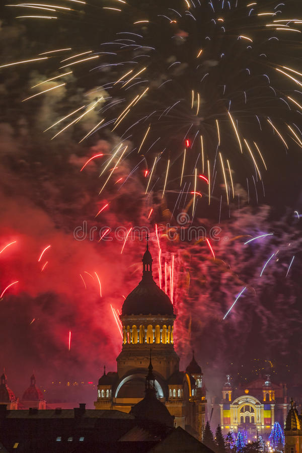 Fireworks in Cluj Napoca royalty free stock photos
