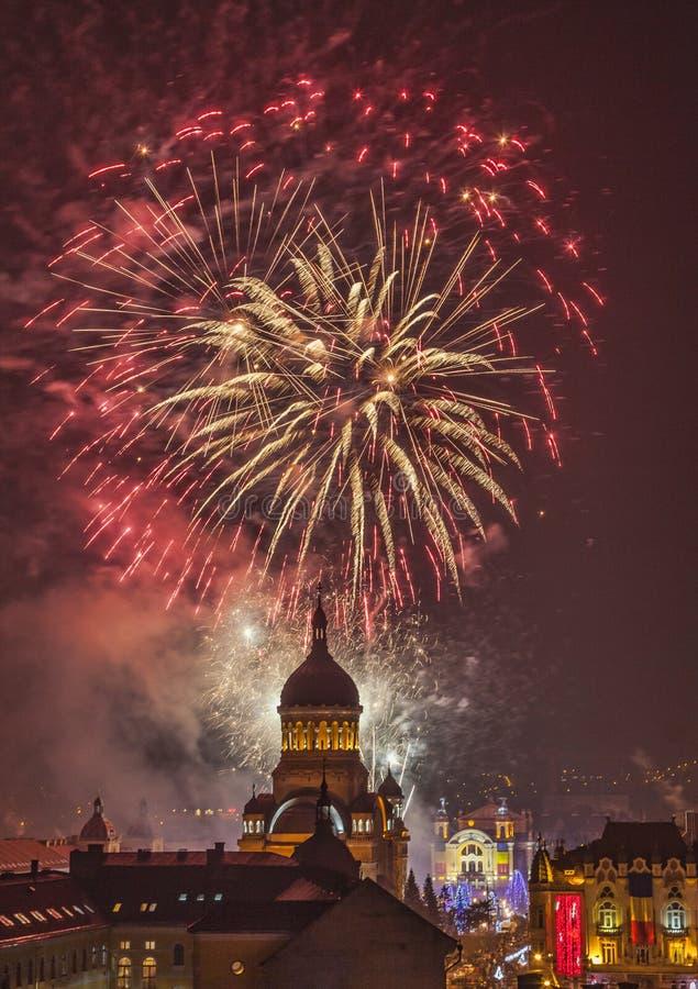 Fireworks In Cluj Napoca Stock Photo