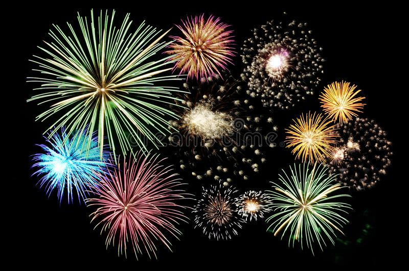 Fireworks cluster royalty free stock photos