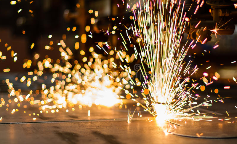 Download Fireworks Of CNC LPG Gas Cutting Stock Image - Image: 28914519