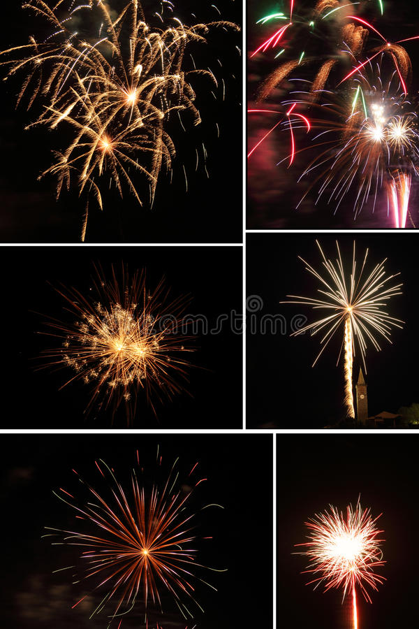 Fireworks collage royalty free stock photo