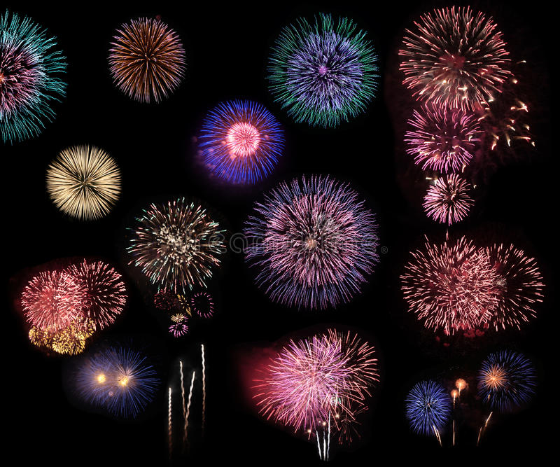Fireworks collage stock illustration