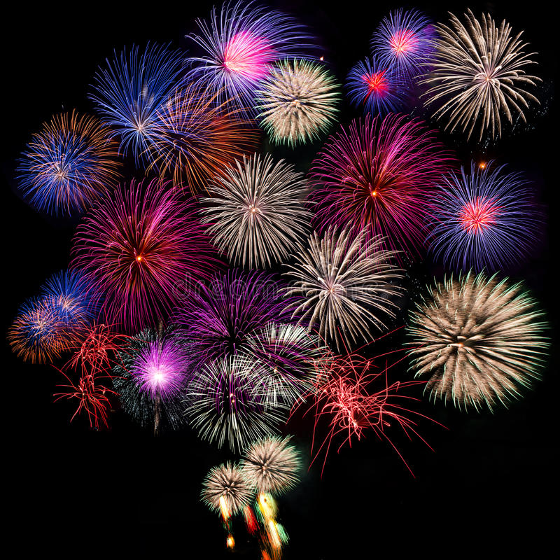 Fireworks collection. Photo-collection of five fireworks on black background royalty free stock photography