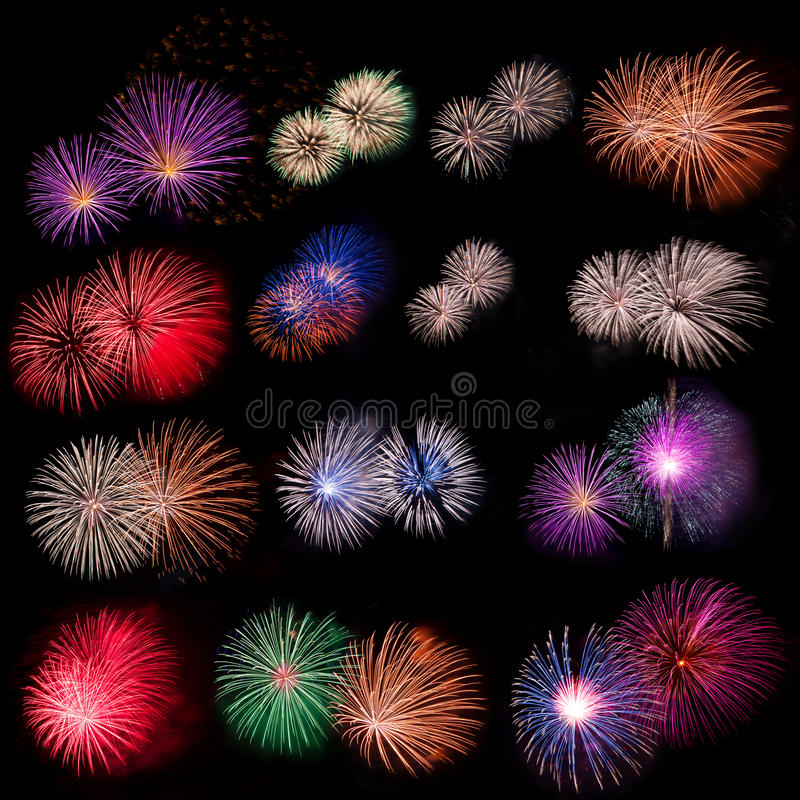 Fireworks collection. Photo-collection of five fireworks on black background stock photo