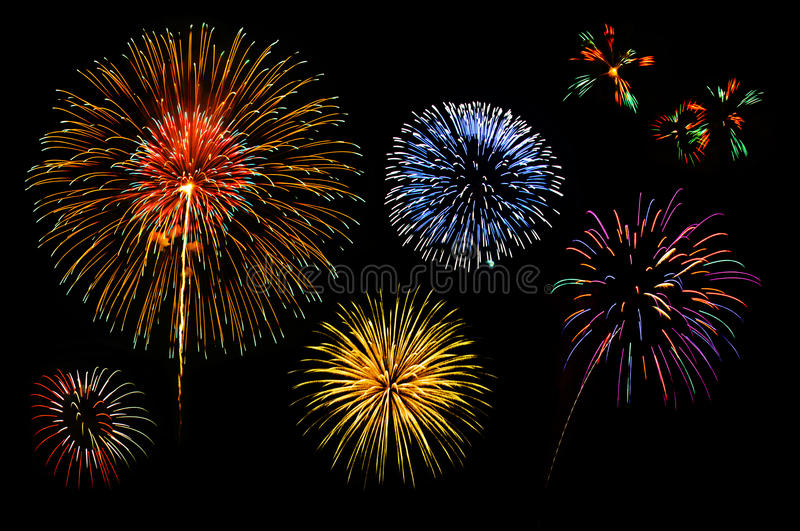 Fireworks collection. For who want to use. Many vivid colors stock photography