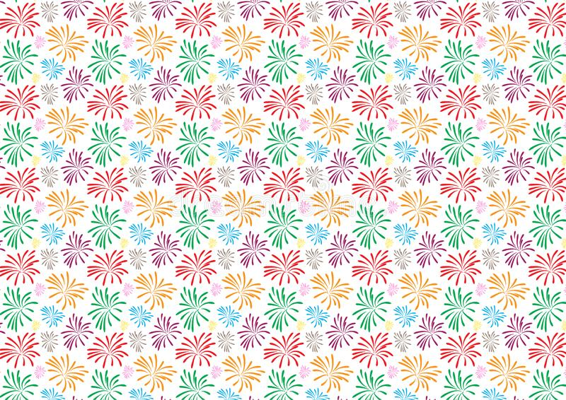 Fireworks colored pattern design on white background royalty free illustration
