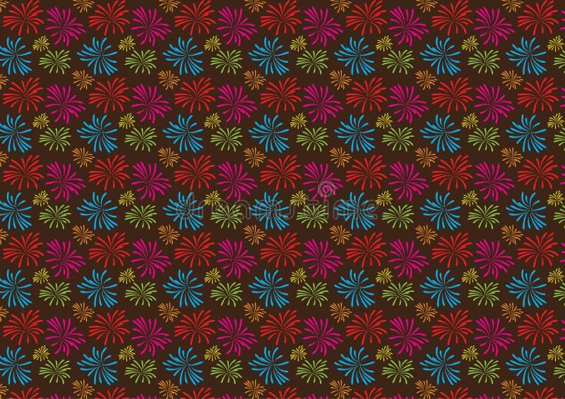 Fireworks colored pattern design on white background vector illustration