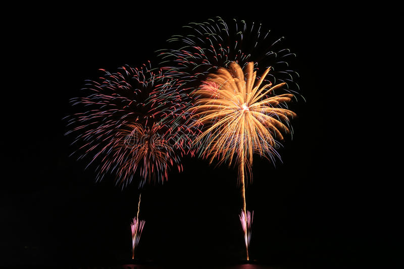 Fireworks. Colorful fireworks lighting the night sky royalty free stock photography