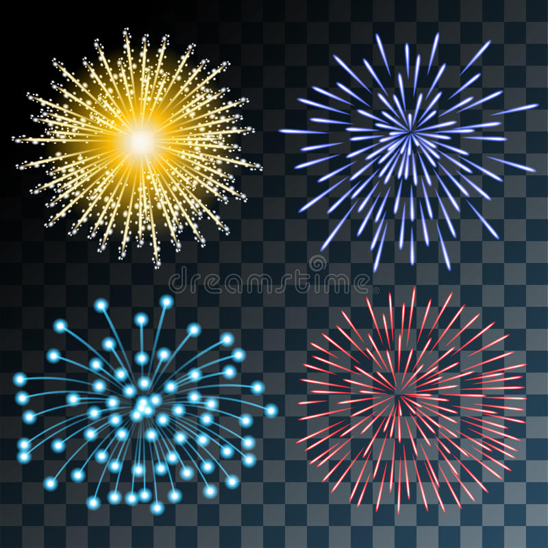 Fireworks. Colorful Fireworks on Transparent background. Set Illustration royalty free illustration