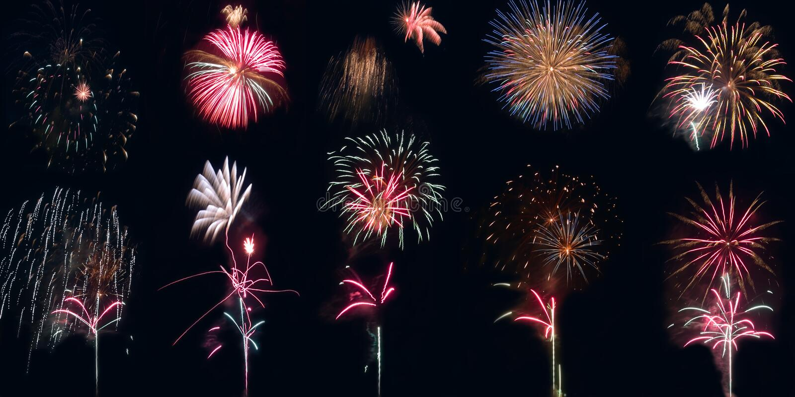 Fireworks combo royalty free stock images